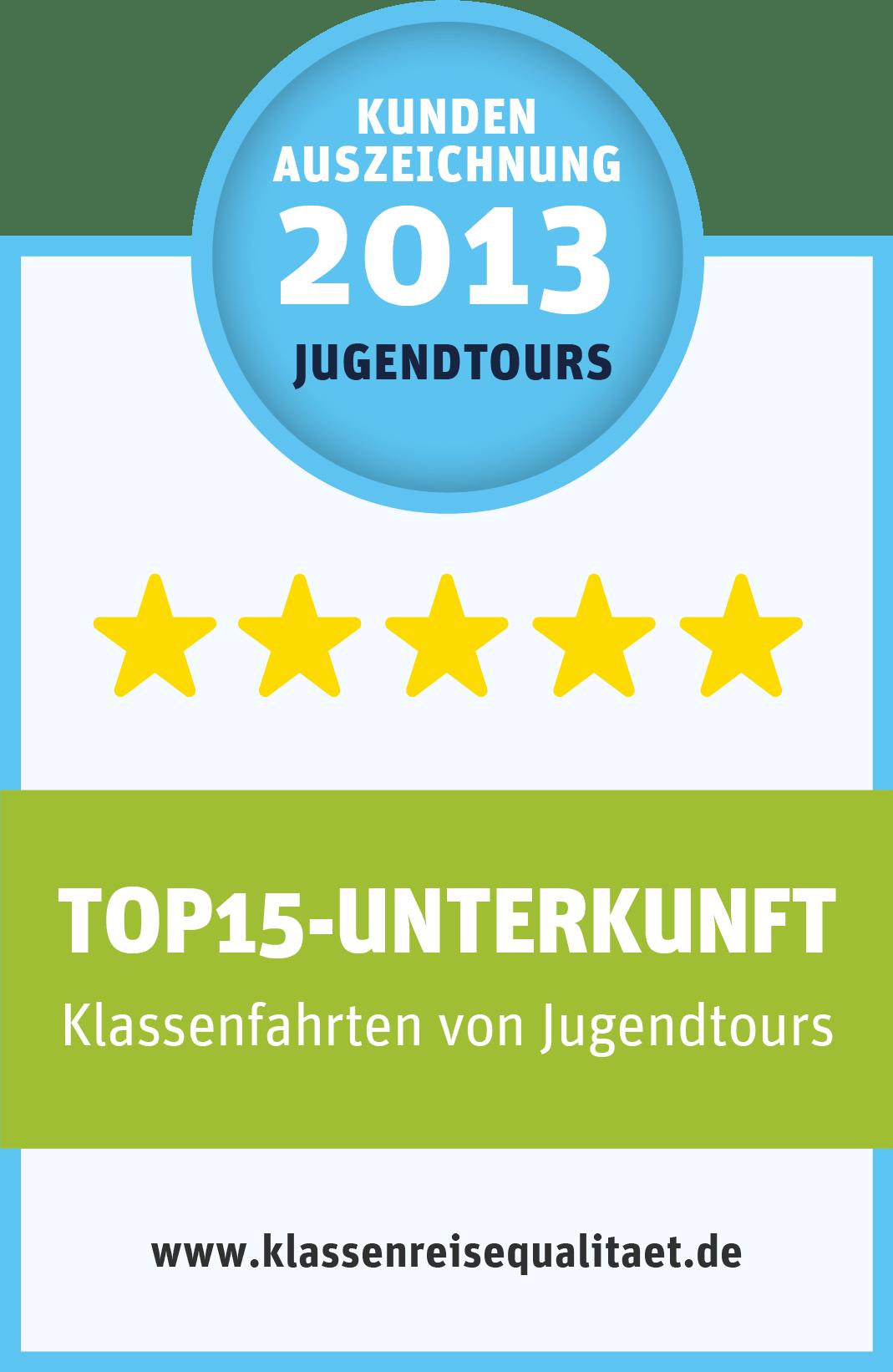 """Kundenauszeichnung von Jugendtours """"TOP15-Kundenzufriedenheit"""""""