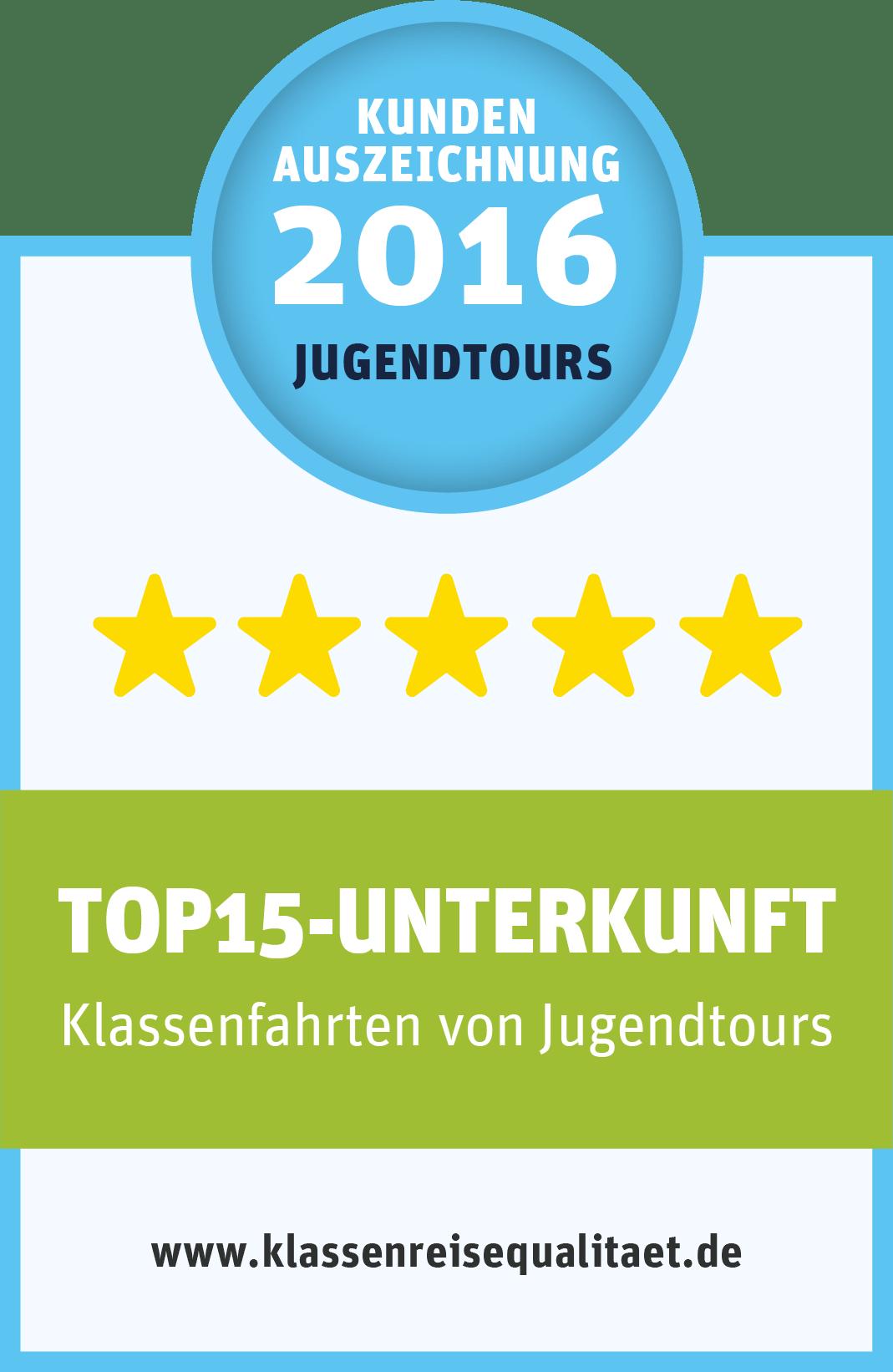 """Qualitätsauszeichnung von Jugendtours """"TOP15-Kundenzufriedenheit"""""""