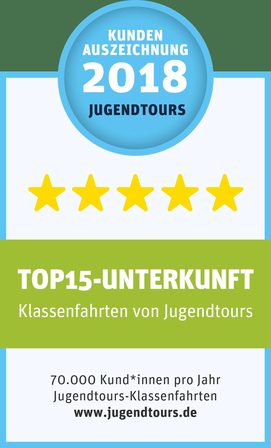 Top-Unterkunft 2018 – Kundenauszeichnung Klassenfahrten, prämiert von Jugendtours