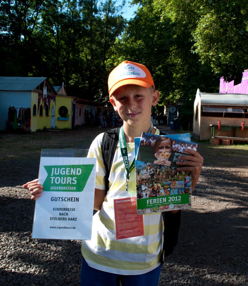Kinderstadt Halle 2012 &nfdash; 10.000 Besucher gewinnt Jugendtours-Reise