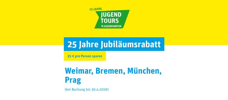 25 Jahre Jugendtours - 25 Euro Jubiläumsaktion Klassenfahrten in ausgewählte A&O Hostels